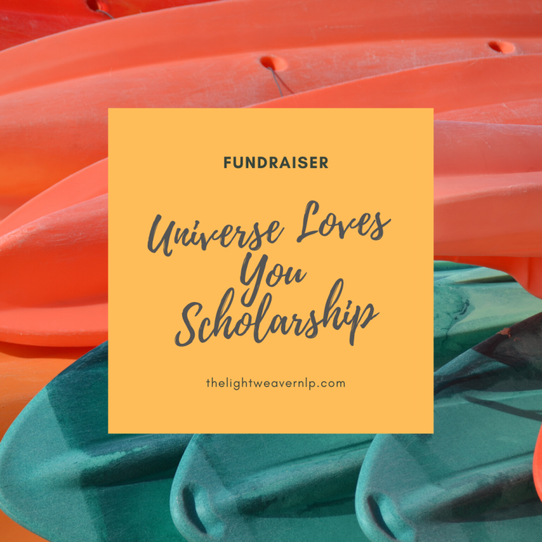 Image which says Fundraiser for Universe Loves You scholarship
